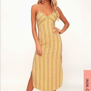 Amuse society yellow stripped tie back midi dress